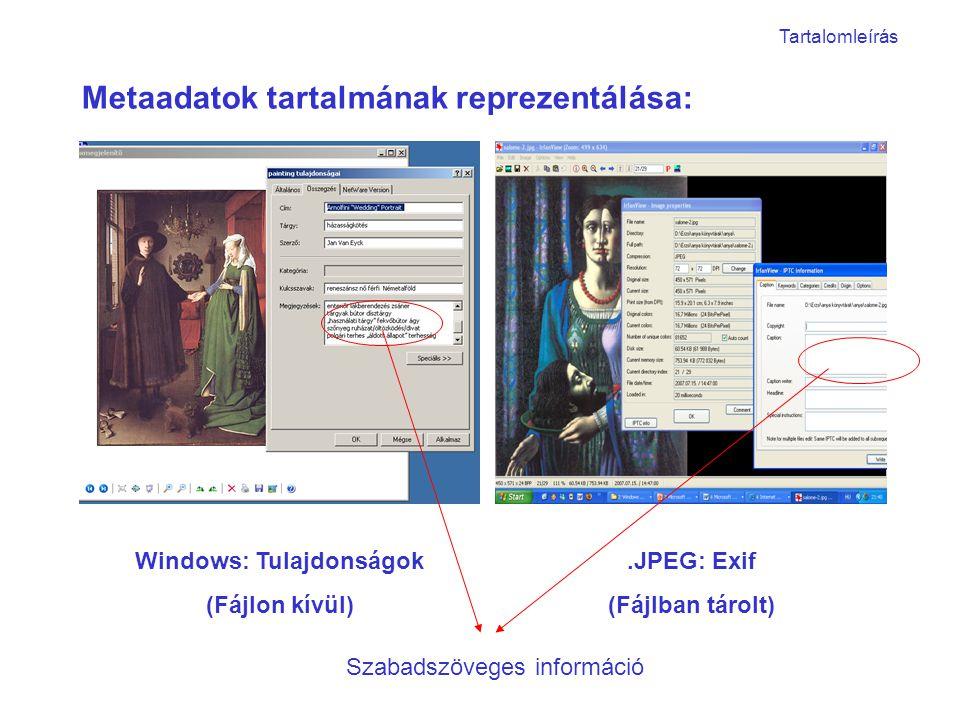 Metaadatok tartalmának reprezentálása: Windows: Tulajdonságok (Fájlon kívül).JPEG: Exif (Fájlban tárolt) Szabadszöveges információ Tartalomleírás