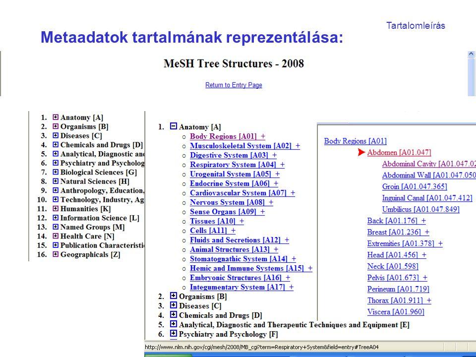 """Oktatási vetület: a téma """"rendszerszemléletű átlátása Formalizálás: – Metaadatok fontosságának megismerése – Gépi reprezentálás lépéseinek megismerése – Tudományos, pontos fogalomalkotás – Klasszifikációk, nómenklatúrák és ontológiák használata Integrálás: – Témakörök összekapcsolása (szakmai követelmények + informatikai eszközök) Eredmény: –Adott rendszer szabályai szerint cselekedni – Metainformációk rendszere: szervezettség szintje –Formalizált, """"kvázi pontos adatbevitel –Tanár- diák által használható nyílt rendszer"""