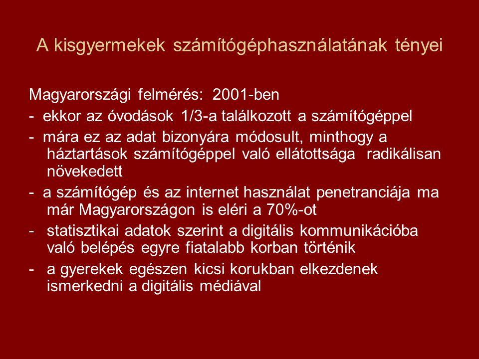 A kisgyermekek számítógéphasználatának tényei Magyarországi felmérés: 2001-ben - ekkor az óvodások 1/3-a találkozott a számítógéppel - mára ez az adat bizonyára módosult, minthogy a háztartások számítógéppel való ellátottsága radikálisan növekedett - a számítógép és az internet használat penetranciája ma már Magyarországon is eléri a 70%-ot -statisztikai adatok szerint a digitális kommunikációba való belépés egyre fiatalabb korban történik -a gyerekek egészen kicsi korukban elkezdenek ismerkedni a digitális médiával