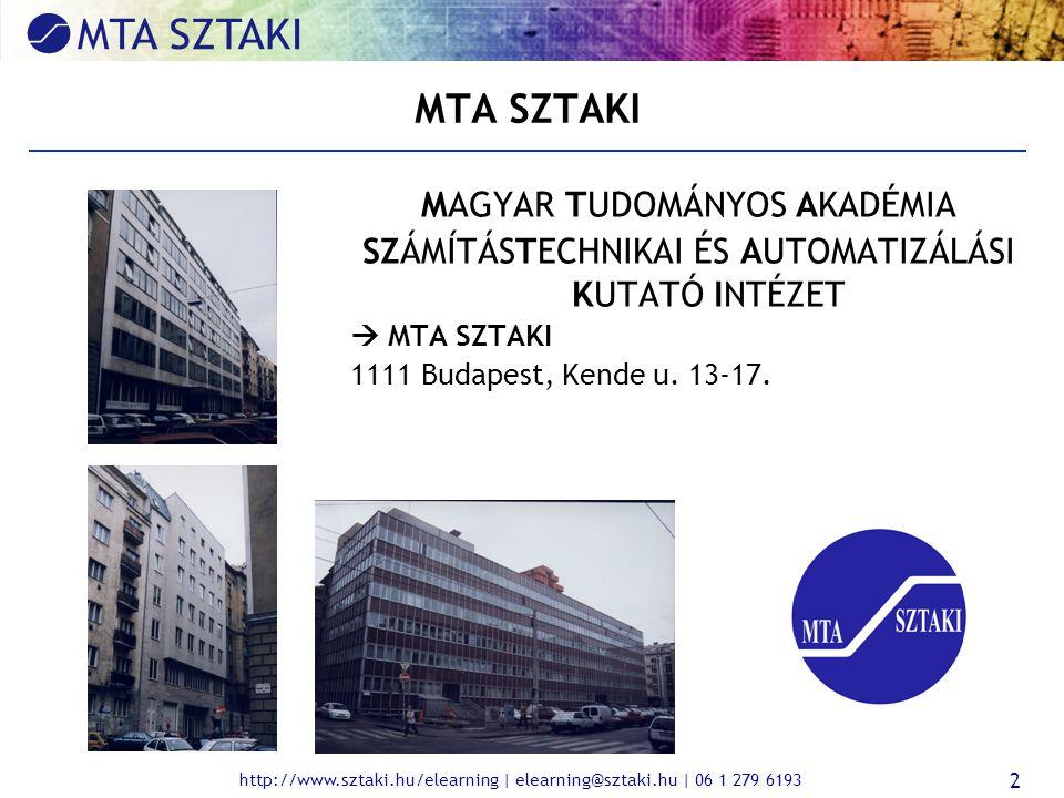 http://www.sztaki.hu/elearning | elearning@sztaki.hu | 06 1 279 6193 2 MTA SZTAKI MAGYAR TUDOMÁNYOS AKADÉMIA SZÁMÍTÁSTECHNIKAI ÉS AUTOMATIZÁLÁSI KUTATÓ INTÉZET  MTA SZTAKI 1111 Budapest, Kende u.