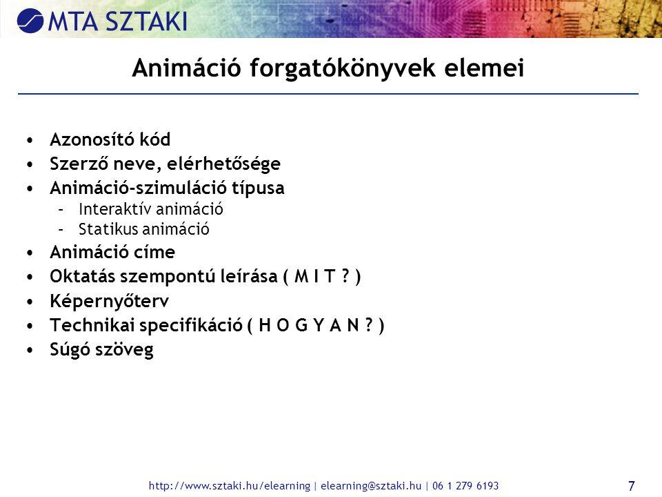 http://www.sztaki.hu/elearning | elearning@sztaki.hu | 06 1 279 6193 7 Animáció forgatókönyvek elemei Azonosító kód Szerző neve, elérhetősége Animáció