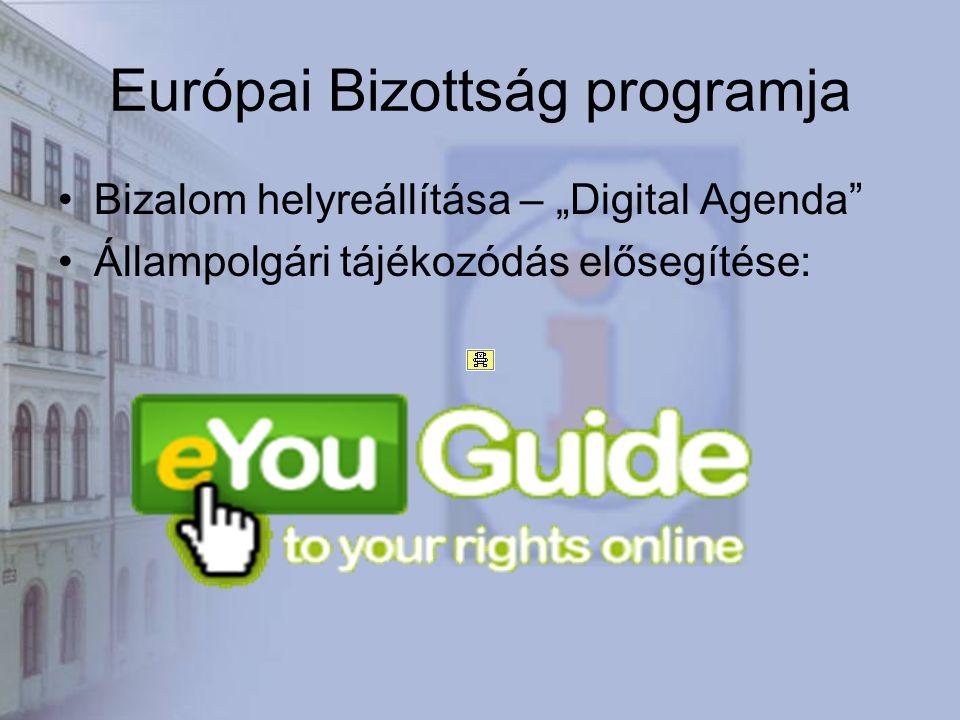 """Európai Bizottság programja Bizalom helyreállítása – """"Digital Agenda Állampolgári tájékozódás elősegítése:"""