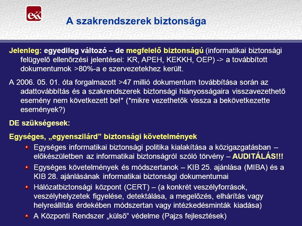 A szakrendszerek biztonsága Jelenleg: egyedileg változó – de megfelelő biztonságú (informatikai biztonsági felügyelő ellenőrzési jelentései: KR, APEH,