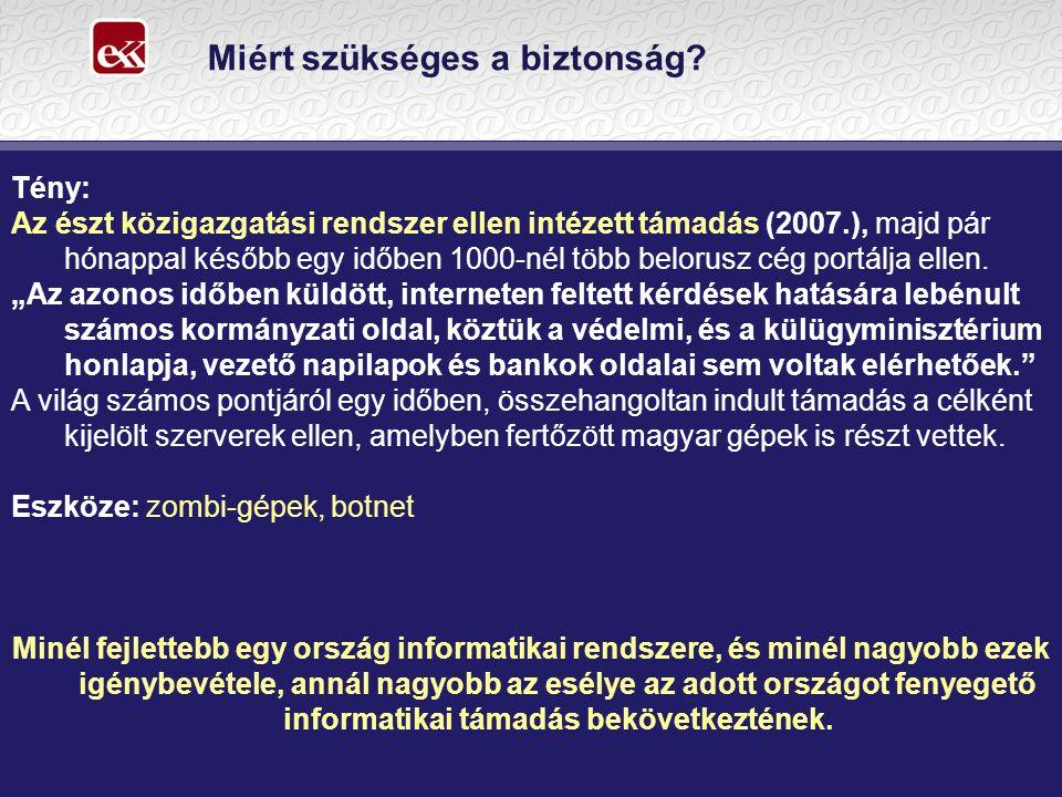 Miért szükséges a biztonság? Tény: Az észt közigazgatási rendszer ellen intézett támadás (2007.), majd pár hónappal később egy időben 1000-nél több be