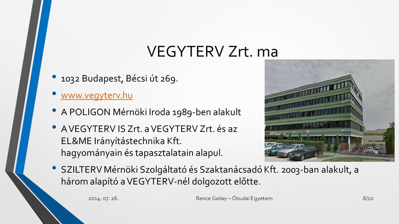 VEGYTERV Zrt. ma 1032 Budapest, Bécsi út 269. www.vegyterv.hu A POLIGON Mérnöki Iroda 1989-ben alakult A VEGYTERV IS Zrt. a VEGYTERV Zrt. és az EL&ME