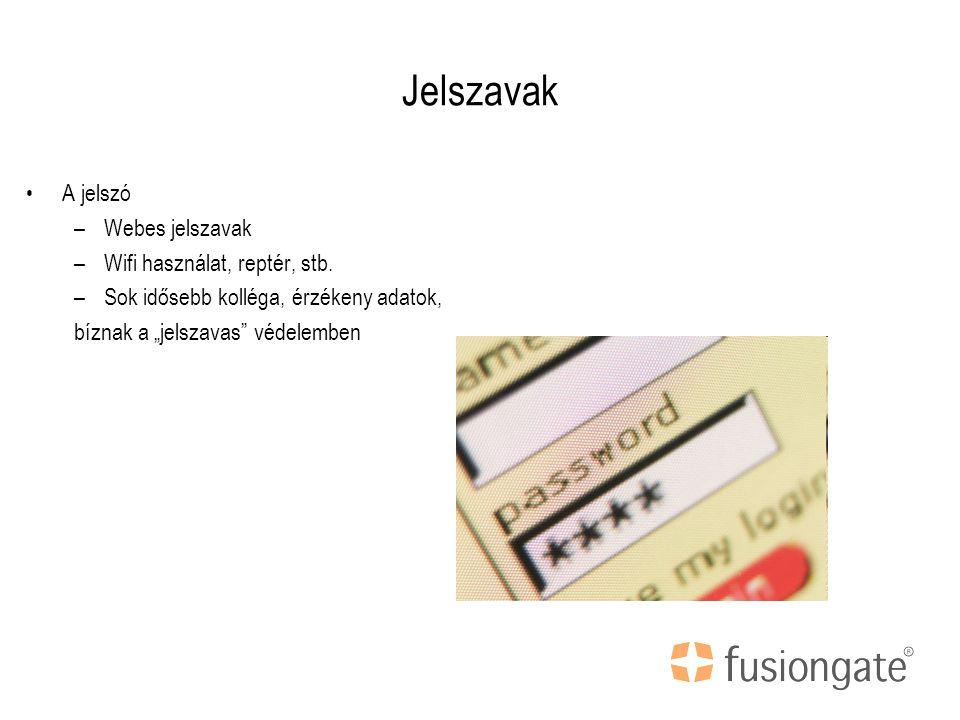 Jelszavak A jelszó –Webes jelszavak –Wifi használat, reptér, stb.