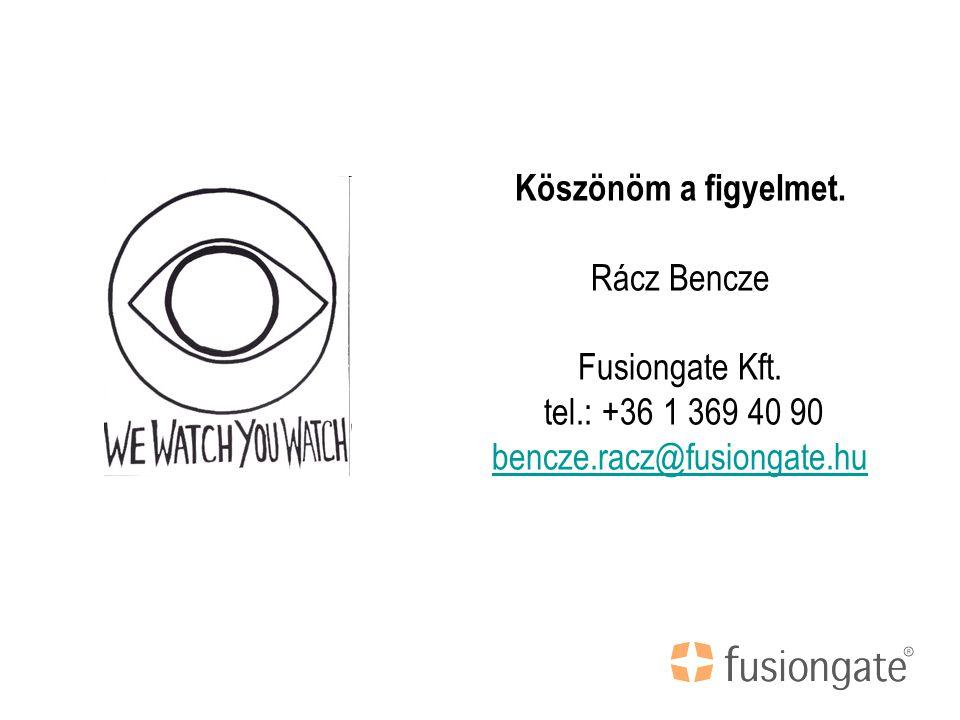 Köszönöm a figyelmet. Rácz Bencze Fusiongate Kft.