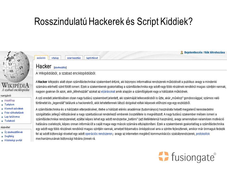 Rosszindulatú Hackerek és Script Kiddiek