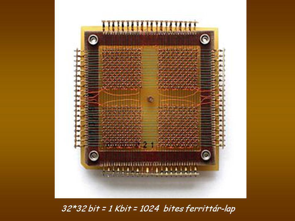 32*32 bit = 1 Kbit = 1024 bites ferrittár-lap
