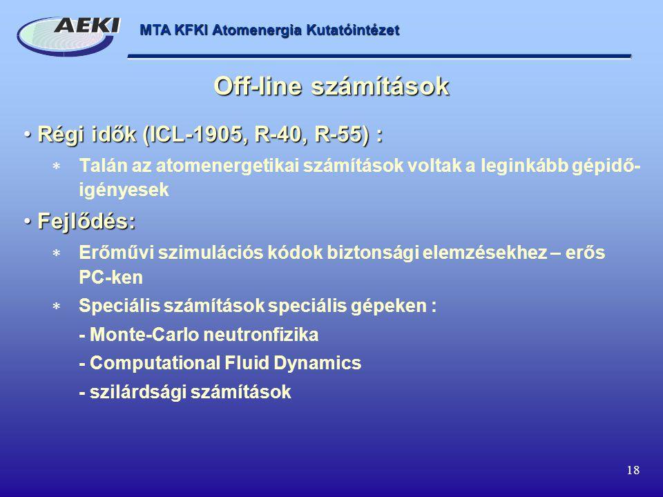 MTA KFKI Atomenergia Kutatóintézet 18 Régi idők (ICL-1905, R-40, R-55) : Régi idők (ICL-1905, R-40, R-55) :  Talán az atomenergetikai számítások volt