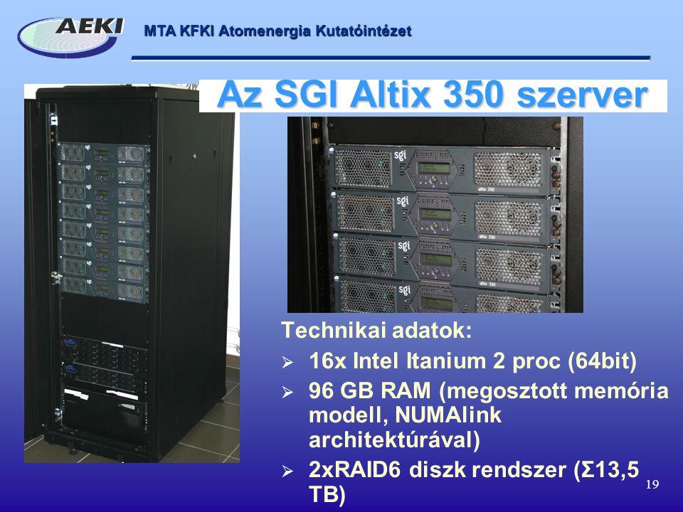 MTA KFKI Atomenergia Kutatóintézet 19 Az SGI Altix 350 szerver Technikai adatok:  16x Intel Itanium 2 proc (64bit)  96 GB RAM (megosztott memória modell, NUMAlink architektúrával)  2xRAID6 diszk rendszer (Σ13,5 TB)