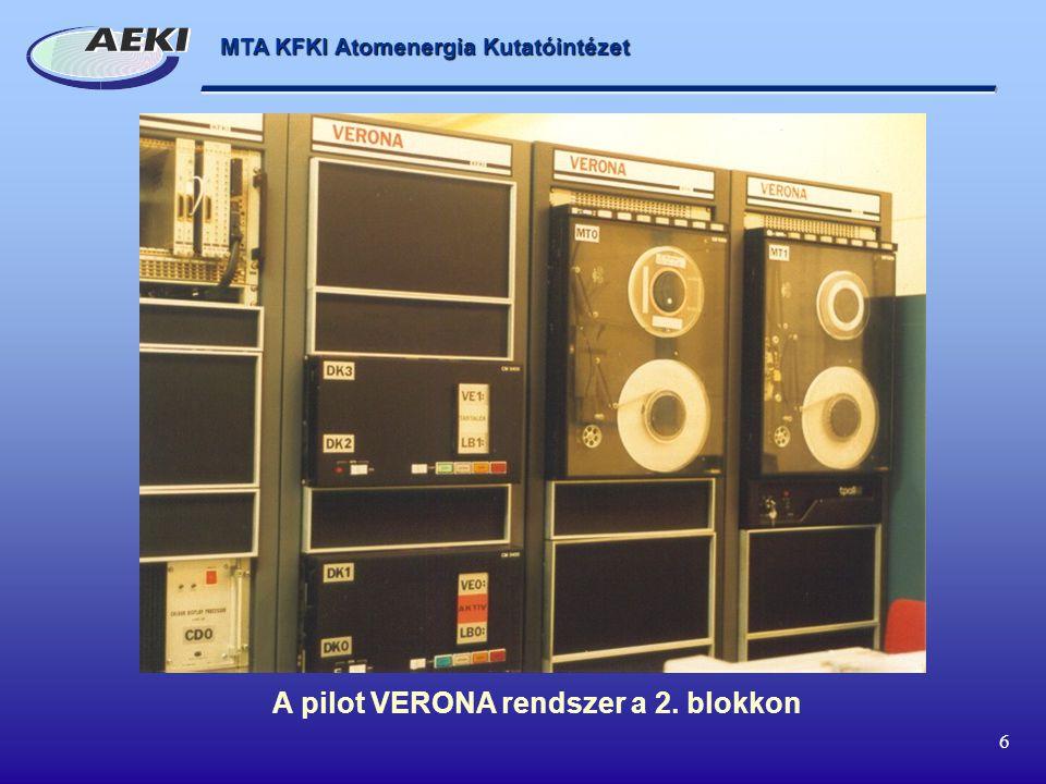 MTA KFKI Atomenergia Kutatóintézet 6 A pilot VERONA rendszer a 2. blokkon