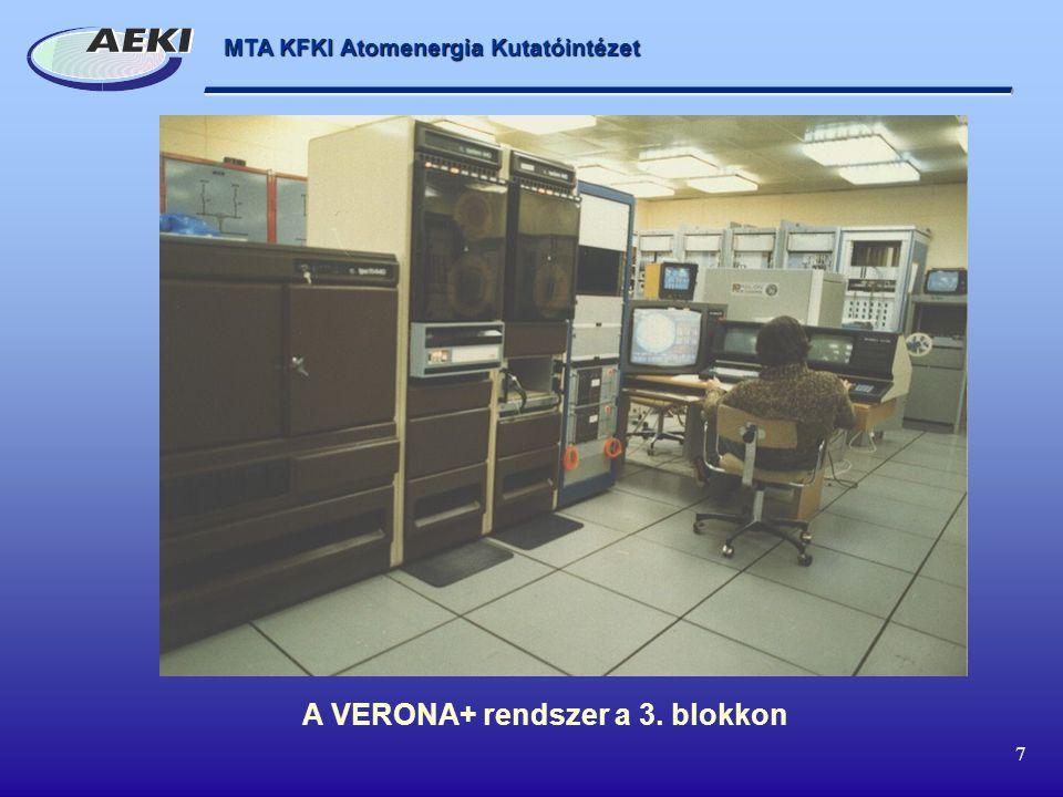 MTA KFKI Atomenergia Kutatóintézet 7 A VERONA+ rendszer a 3. blokkon
