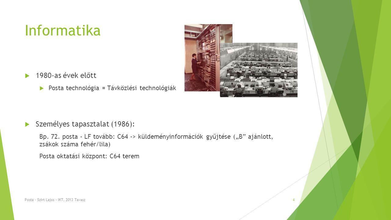 Informatika  1980-as évek előtt  Posta technológia = Távközlési technológiák  Személyes tapasztalat (1986): Bp.