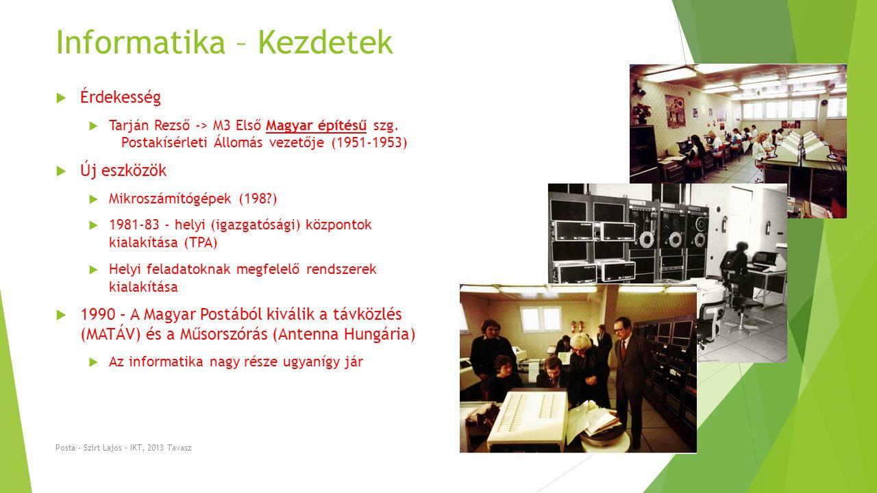 Informatika – Technikai fejlődés  Központok összeköttetése .