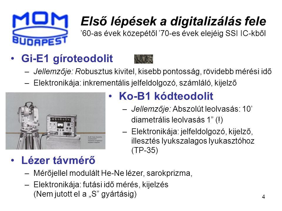 5 Útban a digitális kiértékelés felé '70-es években már MSI IC-kből is Gi-B21 gíroteodolit elektronikája: –Azimut fordulópontos kiértékelése a precessziós lengés automatikus követésével és digitális időméréssel; –A giromotor meghajtása digitális alapjellel; –A mérési eredmény off-line kiértékeléshez adatátvitel a lyukszalag lyukasztóhoz (TP-35)