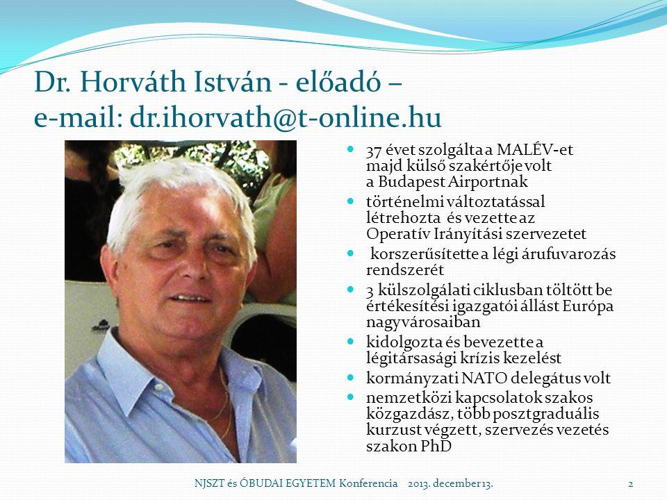 Dr. Horváth István - előadó – e-mail: dr.ihorvath@t-online.hu 37 évet szolgálta a MALÉV-et majd külső szakértője volt a Budapest Airportnak történelmi
