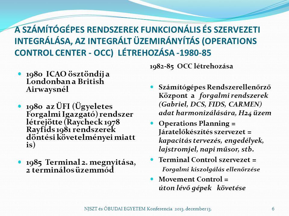 A SZÁMÍTÓGÉPES RENDSZEREK FUNKCIONÁLIS ÉS SZERVEZETI INTEGRÁLÁSA, AZ INTEGRÁLT ÜZEMIRÁNYÍTÁS (OPERATIONS CONTROL CENTER - OCC) LÉTREHOZÁSA -1980-85 19