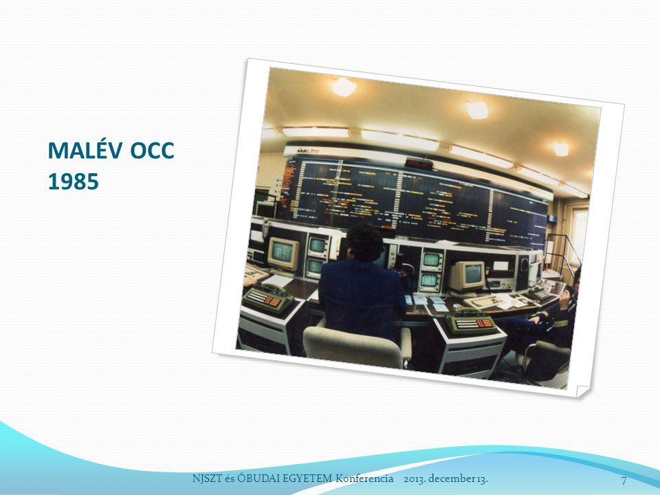 A SZÁMÍTÓGÉPES ÁRU RAKTÁROZÁSI RENDSZER LÉTREHOZÁSA – 1993 –95 1990: rendszerváltozás, a piaci, hatósági környezet változása Az reptéri árukezelés fizikai környezetének elmaradottsága CARMEN – számítógépes record adta lehetőségek Új allokációs raktározási rendszer kialakítása Funkcionális (export, import, tranzit) raktárak létrehozása Szállítmányozó cégek megjelenése Számítógépes vámkezelés NJSZTés ÓBUDAI EGYETEM Konferencia 2013.
