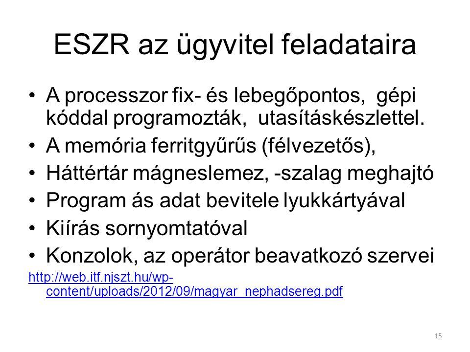 15 ESZR az ügyvitel feladataira A processzor fix- és lebegőpontos, gépi kóddal programozták, utasításkészlettel.