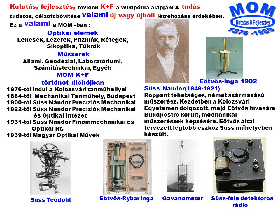 4 Lisziewicz Antal 15 * Diploma munkám: Optikai rendszerek Tervezése 1958 Bors Károly 8 * Te B1 teodolit Ni A3 Ni B3 Tóth Pál 18 * * Találmányok száma