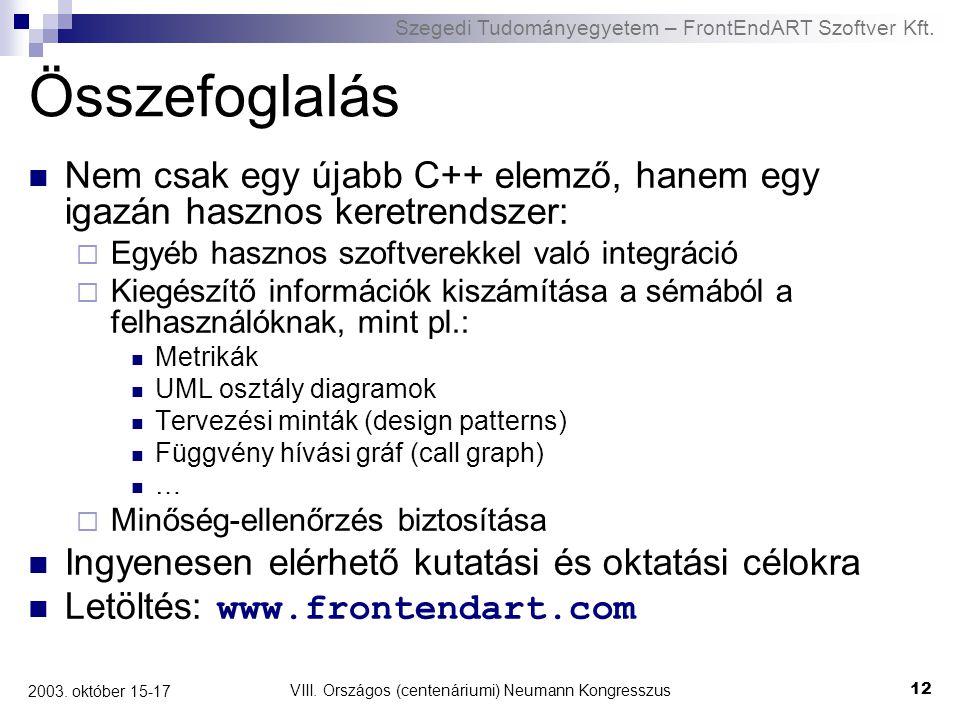 Szegedi Tudományegyetem – FrontEndART Szoftver Kft. VIII. Országos (centenáriumi) Neumann Kongresszus 12 2003. október 15-17 Összefoglalás Nem csak eg