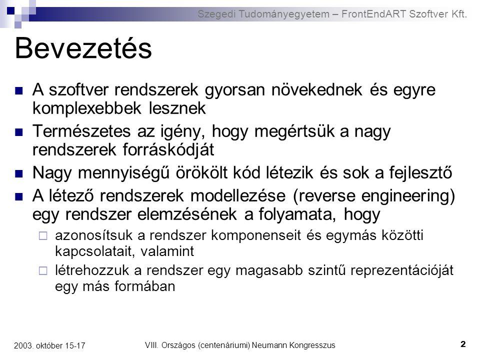 Szegedi Tudományegyetem – FrontEndART Szoftver Kft. VIII. Országos (centenáriumi) Neumann Kongresszus 2 2003. október 15-17 Bevezetés A szoftver rends