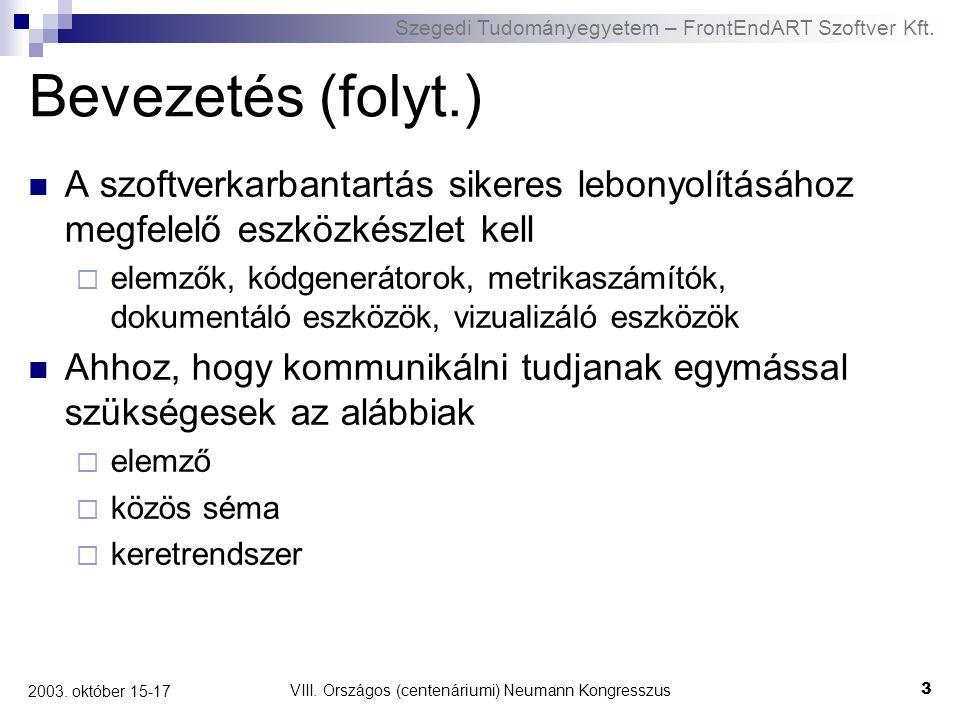 Szegedi Tudományegyetem – FrontEndART Szoftver Kft. VIII. Országos (centenáriumi) Neumann Kongresszus 3 2003. október 15-17 Bevezetés (folyt.) A szoft