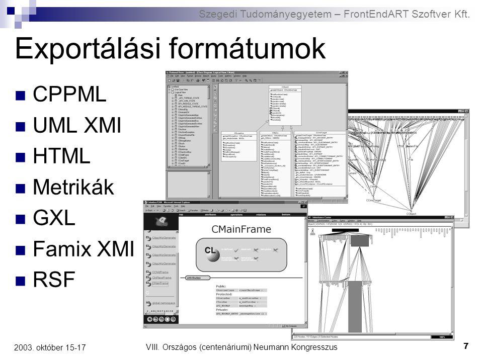Szegedi Tudományegyetem – FrontEndART Szoftver Kft. VIII. Országos (centenáriumi) Neumann Kongresszus 7 2003. október 15-17 Exportálási formátumok CPP