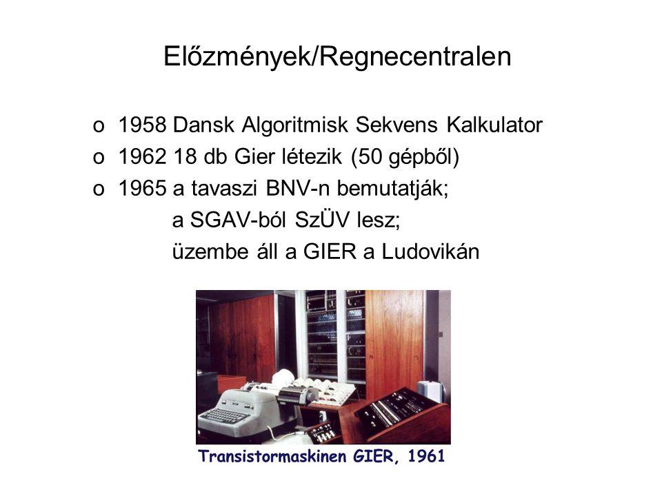 Előzmények/Regnecentralen o1958 Dansk Algoritmisk Sekvens Kalkulator o1962 18 db Gier létezik (50 gépből) o1965 a tavaszi BNV-n bemutatják; a SGAV-ból SzÜV lesz; üzembe áll a GIER a Ludovikán