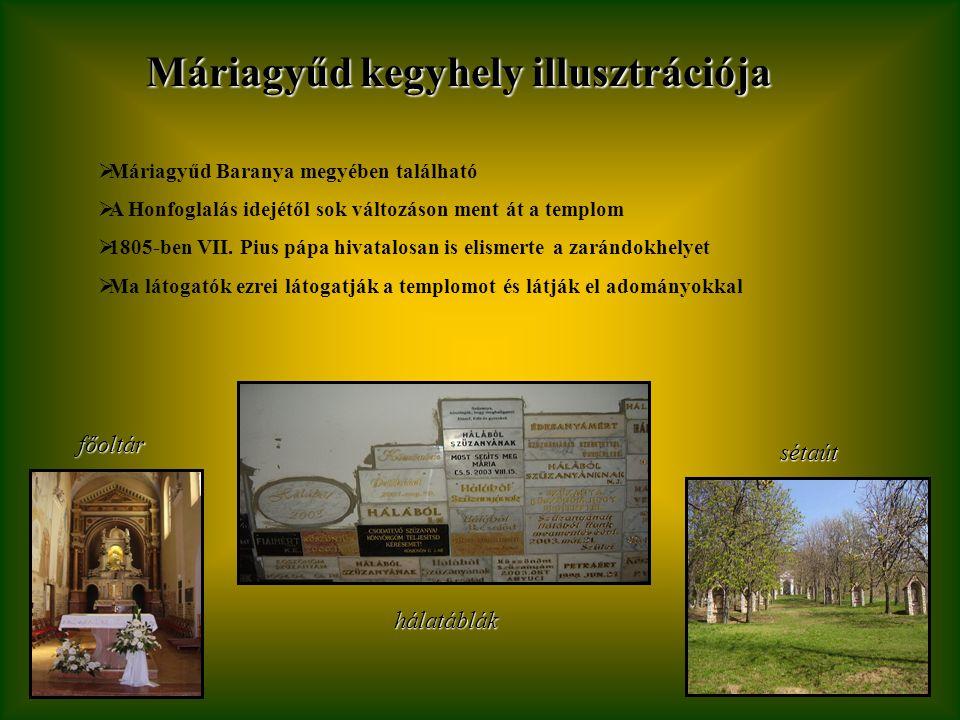 Máriagyűd kegyhely illusztrációja  Máriagyűd Baranya megyében található  A Honfoglalás idejétől sok változáson ment át a templom  1805-ben VII.
