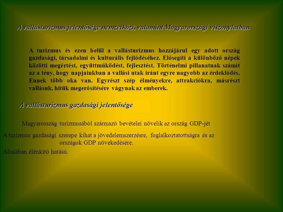 A vallásturizmus jelentősége nemzetközi, valamint Magyarországi viszonylatban A turizmus és ezen belül a vallásturizmus hozzájárul egy adott ország gazdasági, társadalmi és kulturális fejlődéséhez.