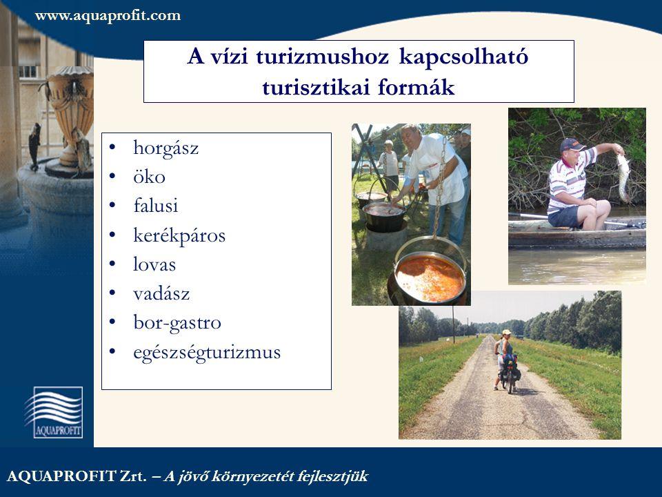 AQUAPROFIT Zrt. – A jövő környezetét fejlesztjük A vízi turizmushoz kapcsolható turisztikai formák horgász öko falusi kerékpáros lovas vadász bor-gast
