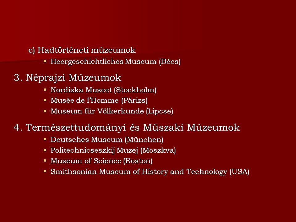 c) Hadtörténeti múzeumok  Heergeschichtliches Museum (Bécs) 3. Néprajzi Múzeumok  Nordiska Museet (Stockholm)  Musée de l'Homme (Párizs)  Museum f