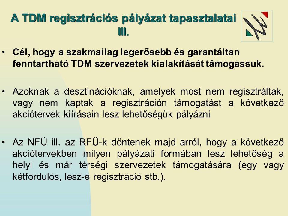 A TDM regisztrációs pályázat tapasztalatai III. Cél, hogy a szakmailag legerősebb és garantáltan fenntartható TDM szervezetek kialakítását támogassuk.