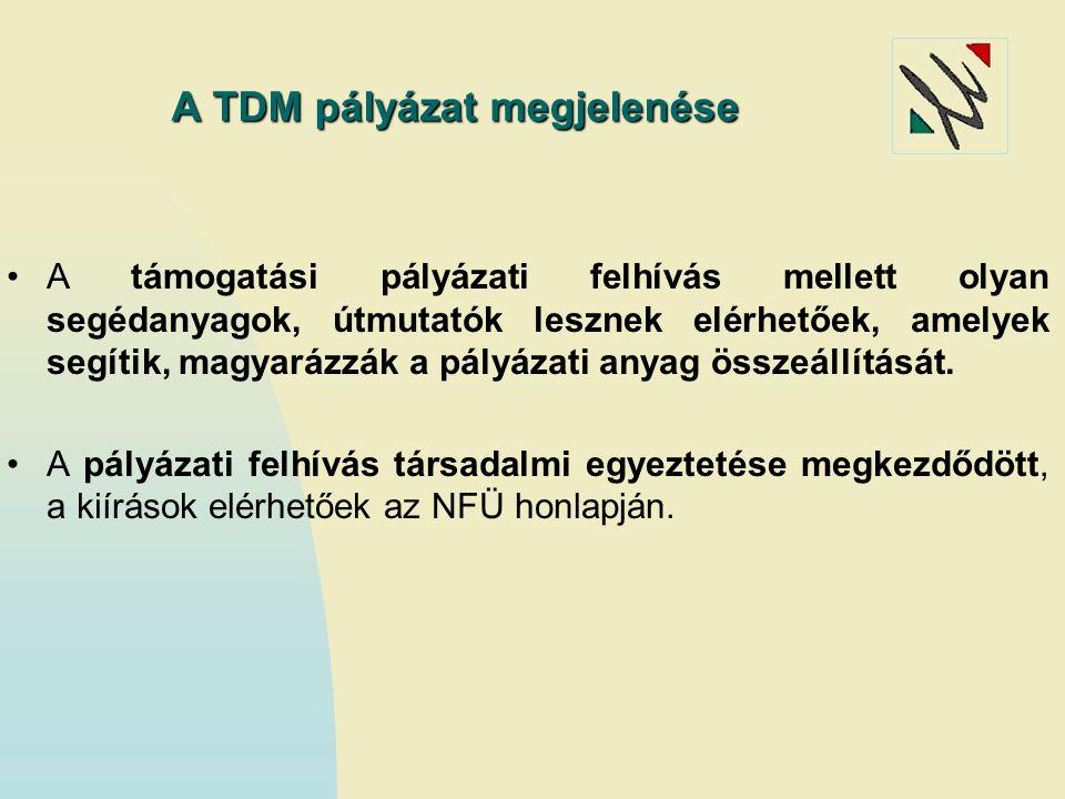 A TDM pályázat megjelenése A támogatási pályázati felhívás mellett olyan segédanyagok, útmutatók lesznek elérhetőek, amelyek segítik, magyarázzák a pá