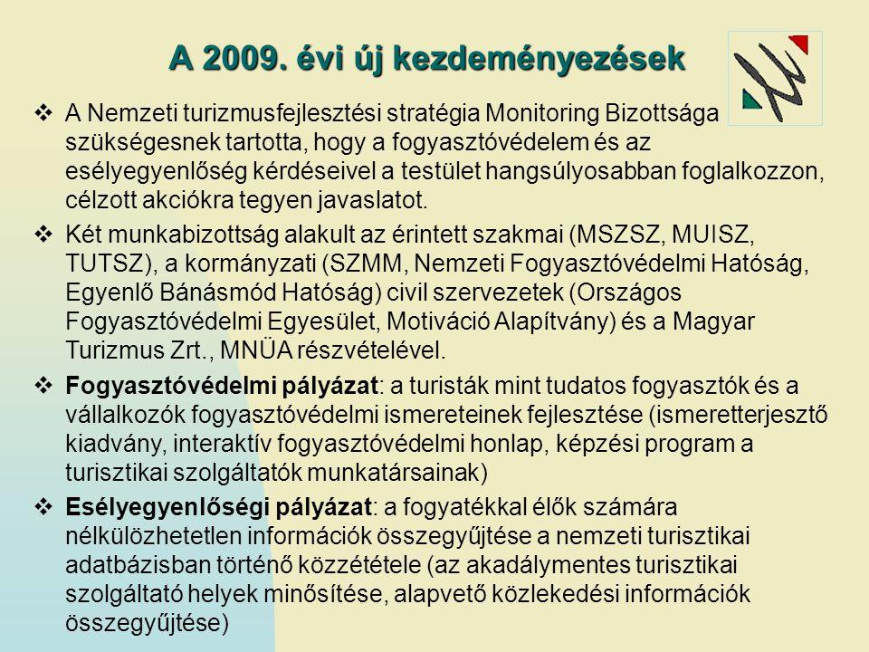 A 2009. évi új kezdeményezések  A Nemzeti turizmusfejlesztési stratégia Monitoring Bizottsága szükségesnek tartotta, hogy a fogyasztóvédelem és az es