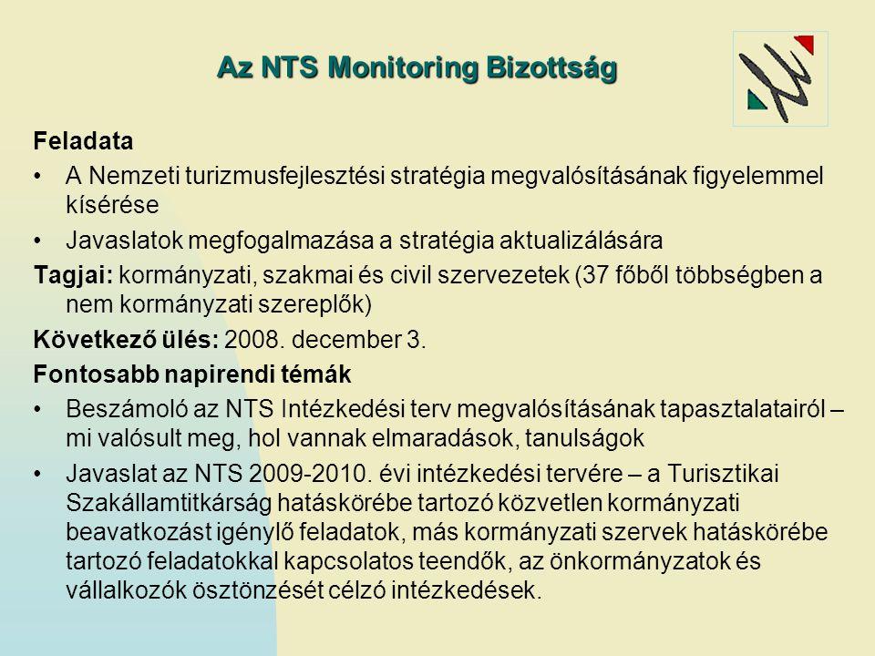 Az NTS Monitoring Bizottság Feladata A Nemzeti turizmusfejlesztési stratégia megvalósításának figyelemmel kísérése Javaslatok megfogalmazása a stratég