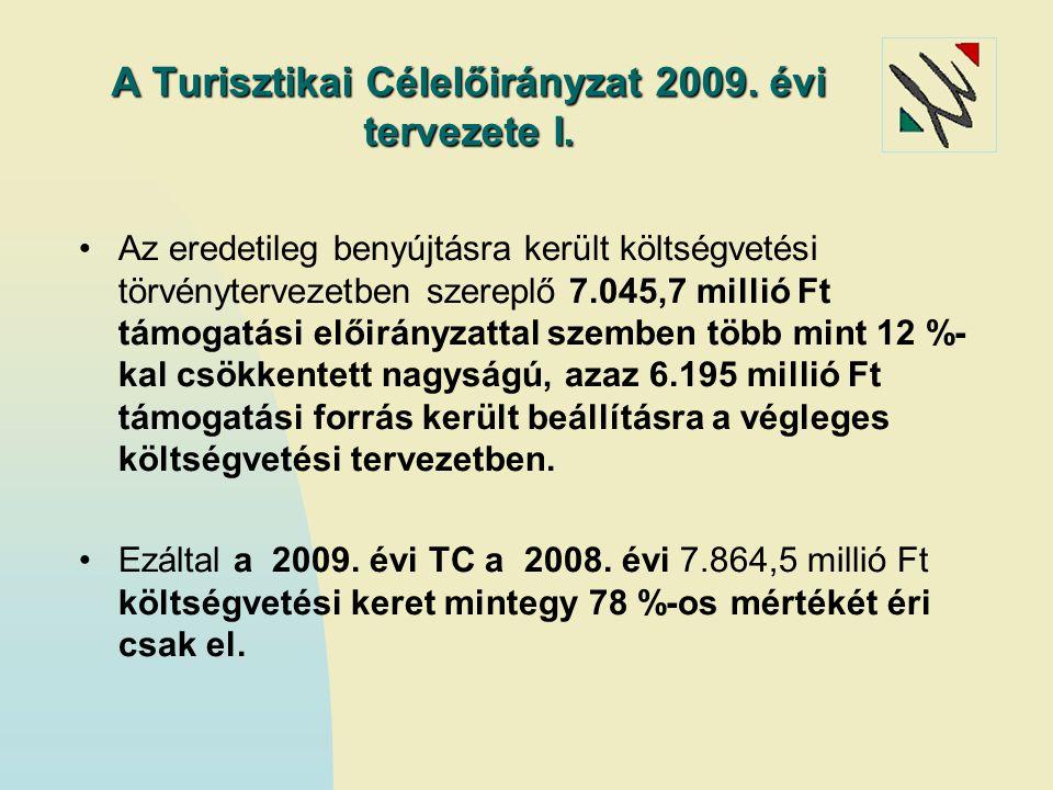 A Turisztikai Célelőirányzat 2009. évi tervezete I. Az eredetileg benyújtásra került költségvetési törvénytervezetben szereplő 7.045,7 millió Ft támog