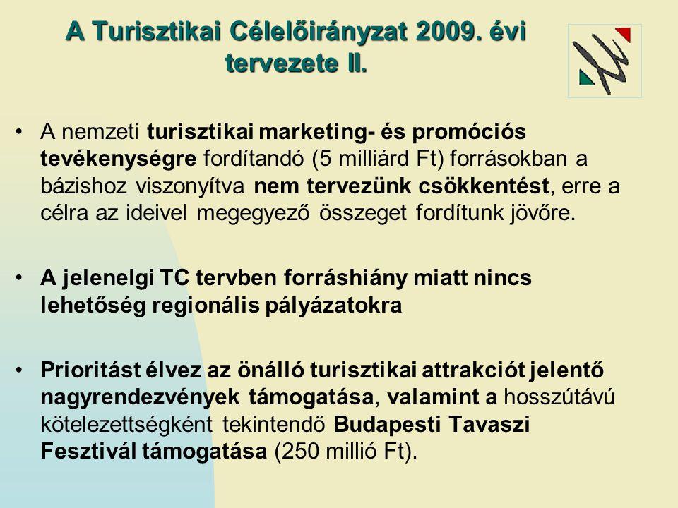 A Turisztikai Célelőirányzat 2009. évi tervezete II. A nemzeti turisztikai marketing- és promóciós tevékenységre fordítandó (5 milliárd Ft) forrásokba