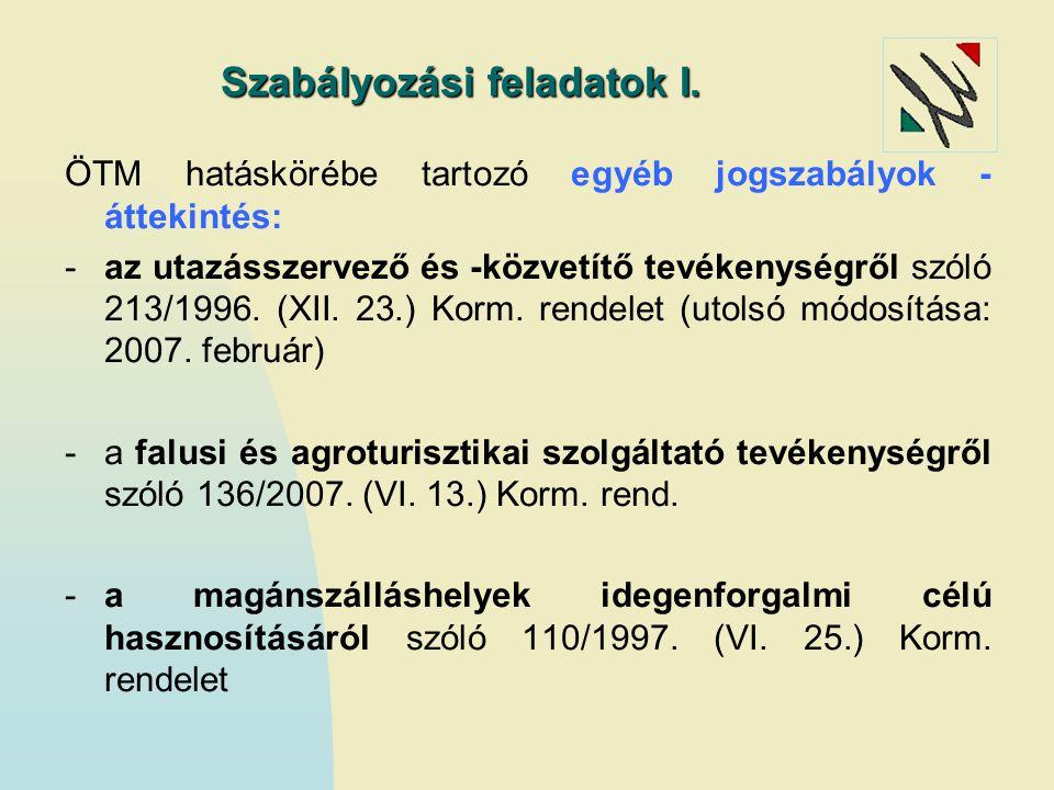 Szabályozási feladatok I. ÖTM hatáskörébe tartozó egyéb jogszabályok - áttekintés: -az utazásszervező és -közvetítő tevékenységről szóló 213/1996. (XI