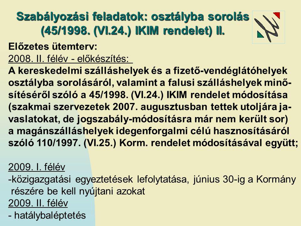 Szabályozási feladatok: osztályba sorolás (45/1998. (VI.24.) IKIM rendelet) II. Előzetes ütemterv: 2008. II. félév - előkészítés: A kereskedelmi száll