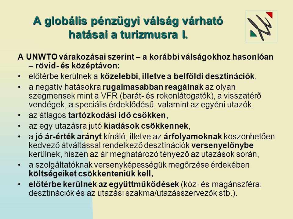 A globális pénzügyi válság várható hatásai a turizmusra I. A UNWTO várakozásai szerint – a korábbi válságokhoz hasonlóan – rövid- és középtávon: előté