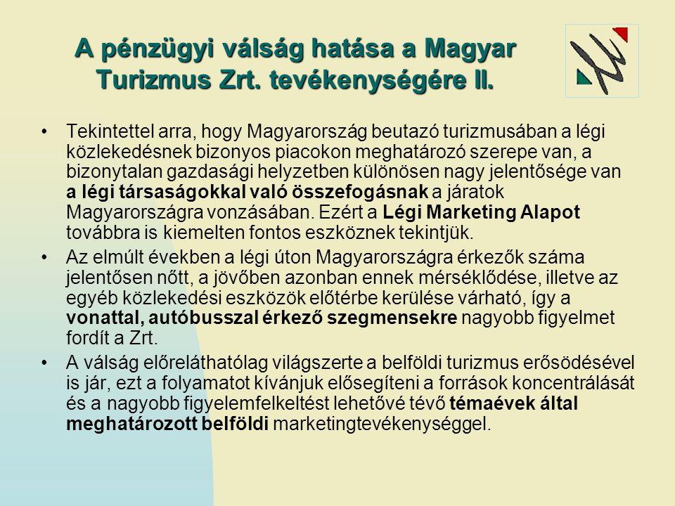 A pénzügyi válság hatása a Magyar Turizmus Zrt. tevékenységére II. Tekintettel arra, hogy Magyarország beutazó turizmusában a légi közlekedésnek bizon