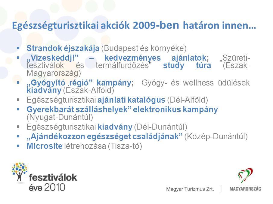 """Egészségturisztikai akciók 2009 -ben határon innen…  Strandok éjszakája (Budapest és környéke)  """"Vizeskeddj!"""" – kedvezményes ajánlatok; """"Szüreti- fe"""