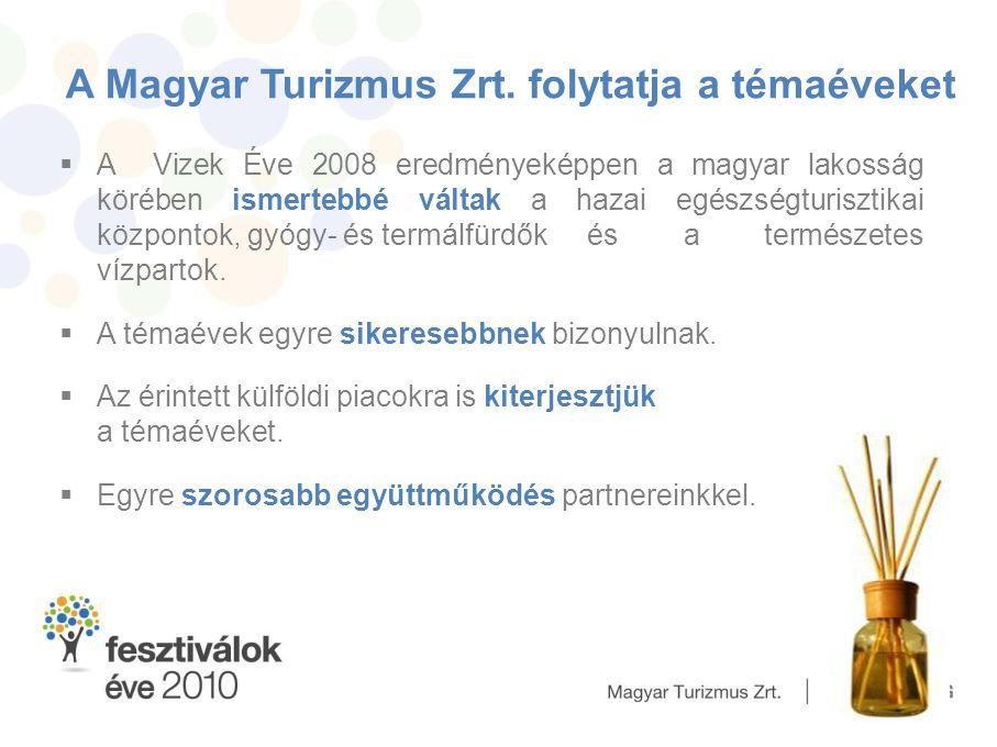 A Magyar Turizmus Zrt. folytatja a témaéveket  A Vizek Éve 2008 eredményeképpen a magyar lakosság körében ismertebbé váltak a hazai egészségturisztik
