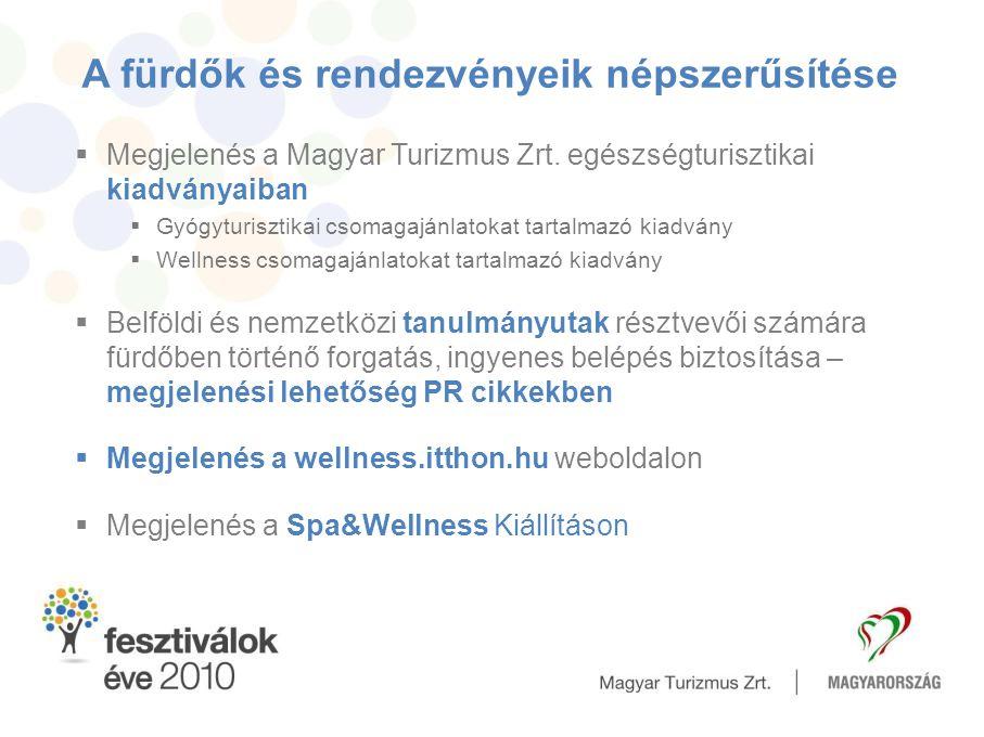 A fürdők és rendezvényeik népszerűsítése  Megjelenés a Magyar Turizmus Zrt. egészségturisztikai kiadványaiban  Gyógyturisztikai csomagajánlatokat ta