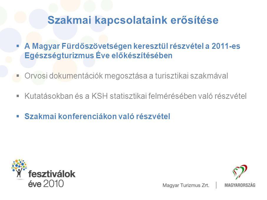 Szakmai kapcsolataink erősítése  A Magyar Fürdőszövetségen keresztül részvétel a 2011-es Egészségturizmus Éve előkészítésében  Orvosi dokumentációk