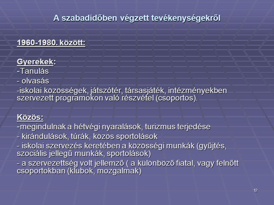 12 A szabadidőben végzett tevékenységekről 1960-1980. között: Gyerekek: - Tanulás - olvasás -iskolai közösségek, játszótér, társasjáték, intézményekbe