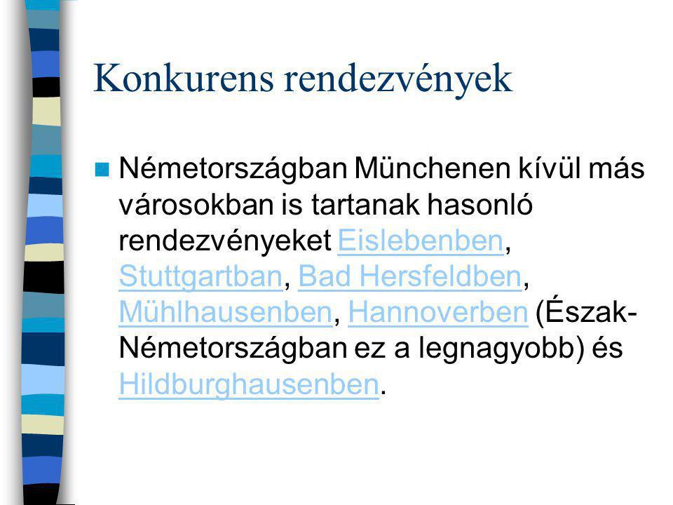 Konkurens rendezvények Németországban Münchenen kívül más városokban is tartanak hasonló rendezvényeket Eislebenben, Stuttgartban, Bad Hersfeldben, Mühlhausenben, Hannoverben (Észak- Németországban ez a legnagyobb) és Hildburghausenben.Eislebenben StuttgartbanBad Hersfeldben MühlhausenbenHannoverben Hildburghausenben